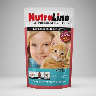 Plic hrana umeda din pui pentru pisici Classic Kitten Nutraline 100 g