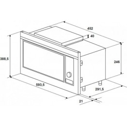 Cuptor cu microunde incorporabil Hansa AMG20BFH, putere 700 W, capacitate 20 l, grill, afisaj LED, 7 nivele de putere