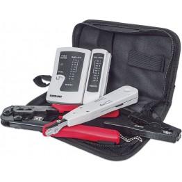Trusa scule retea Intellinet 780070, 4 piese, tester cablu de retea, cleste sertizare, instrument fixare/taiere cablu in slot, instrument de decapare cu cutter