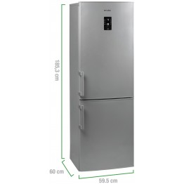 Combina frigorifica Arctic ANK326NFS+, capacitate 287 l, Clasa A+, Full No Frost, argintiu
