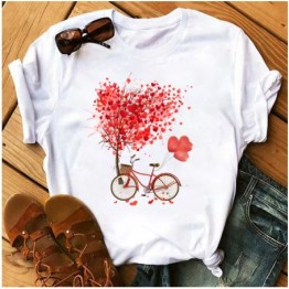 Tricou dama cu maneca scurta, marime L, model bicicleta cu inimi