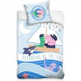 Set lenjerie pat copii Peppa Pig Dreaming of the Sea 100x135 + 40x60 SunCity
