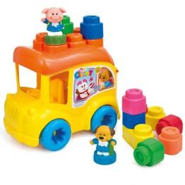 Clemmy Autobuz scolar cu 12 cuburi Clementoni