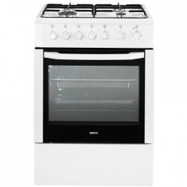 Aragaz mixt Beko CSM52120DW, 4 arzatoare pe gaz, cuptor electric multifunctional, grill, alb