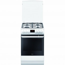 Aragaz mixt Hansa FCMW582109, 4 arzatoare pe gaz, cuptor electric, aprindere electrica, decongelare, alb