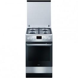Aragaz mixt Hansa FCMX59229, 4 arzatoare, grill, rotisor, cuptor electric, inox