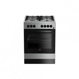 Aragaz mixt Beko FSE62110DX, 4 arzatoare pe gaz, cuptor electric, aprindere electrica, timer, grill, inox