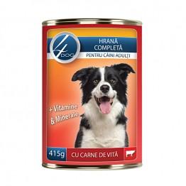 Conserva cu carne de vita 4Dog 415 g