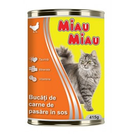 Conserva cu pui pentru pisici Miau-Miau 415 g