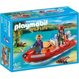 Barca gonflabila cu cercetatori Playmobil