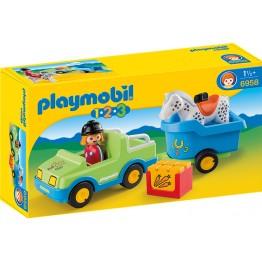 Masina cu remorca si cal Playmobil