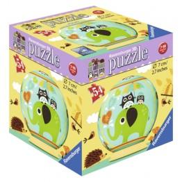 Puzzle 3D Bufnita si Elefant, 54 piese Ravensburger