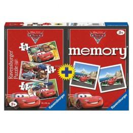Puzzle + Joc Memory Disney Cars, 3 bucati in cutie 15/20/25 piese Ravensburger