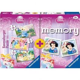 Puzzle + Joc Memory Printesele Disney, 3 bucati in cutie 15/20/25 piese Ravensburger