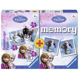 Puzzle + Joc Memory Frozen, 3 bucati in cutie 25/36/49 piese Ravensburger