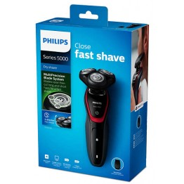 Aparat de ras Philips S5130/06, 3 capete, lame Multiprecision, acumulator, rotire in 5 directii, negru