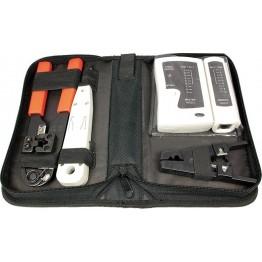 Trusa scule retea LogiLink WZ0012, 4 piese, tester cablu de retea, cleste sertizare, instrument fixare/taiere cablu in slot, instrument de decapare cu cutter