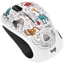Mouse wireless Logitech M238 Doodle Collection , Fara fir , Optic , 1000 DPI , Techie White
