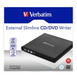 Unitate optica externa Verbatim Slimline CD/DVD Rewriter , USB , Negru