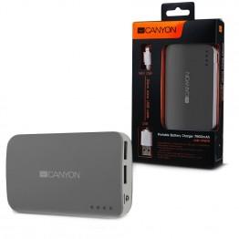 Baterie externa Canyon CNE-CPB78DG 7800 mAh , USB 2x , Gri