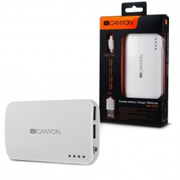 Baterie externa Canyon CNE-CPB78W 7800 mAh , USB 2x , Alb