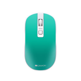 Mouse Canyon CNS-CMSW18, Wireless, 1600 DPI, Baterie reincarcabila, Silentios, Alb/Verde