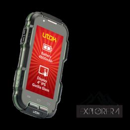Smartphone Utok Explore 4 , Dual Sim , 4 Inch IPS , Quad Core , 1 GB RAM , 8 GB Flash , IP8 , Android KitKat , Negru/Verde