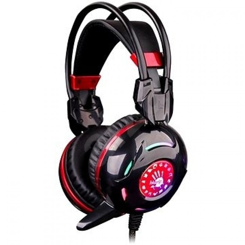 Casti audio A4Tech G300 , 3.5 mm Jack si USB , Microfon , Difuzoare 40 mm , Gaming , Negru/Rosu