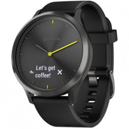 Smartwatch Garmin Vivomove HR, Hibrid, Curea silicon, Negru