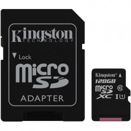 Card de memorie Kingston Canvas , microSD cu adaptor SD , 128 GB , Clasa 10 , UHS-I