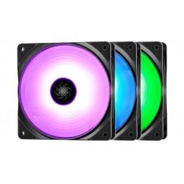 Kit ventilatoare carcasa DeepCool RF120, 120 mm, LED RGB, 3 Ventilatoare