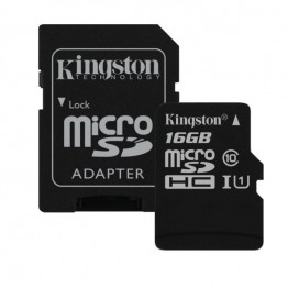 Card de memorie Kingston Canvas , microSD cu adaptor SD , 16 GB , Clasa 10 , UHS-I