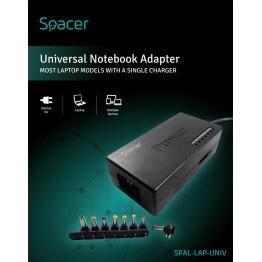 Incarcator laptop Spacer SPAL-LAP-UNIV, universal, 8 tipuri de mufe, negru