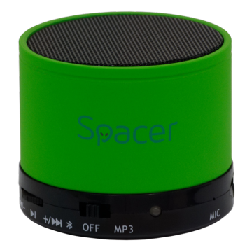 Boxa portabila Spacer Topper, Bluetooth, Putere 3W, Verde