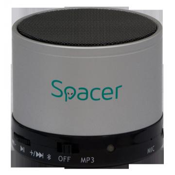 Boxa portabila Spacer Topper, Bluetooth, Putere 3W, Argintiu