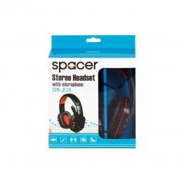 Casti audio Spacer SPK-203 , 3.5 mm Jack , Peste cap , Gaming , Negru/Rosu
