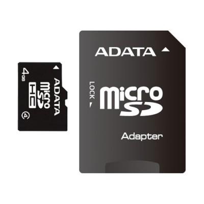 Card de memorie AData Micro SDHC , 4 GB , clasa 4 , adaptor SD