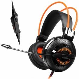 Casti Somic G925 , Gaming , Peste cap , 2x 35. mm Jack TRS , Negru cu portocaliu