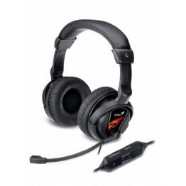 Casti audio Genius HS-G500V , 3.5 mm Jack si USB , Peste cap , Gaming , Negru