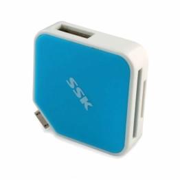 Cititor de carduri SSK USB 2.0 SCRM068 OTG Albastru