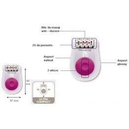Epilator Rowenta, 24 pensete, 2 viteze, functie masaj, alimentare la retea, aspect satinat si glossy, UltraCompact, dimensiuni: 57x80 mm, culoare: alb/roz