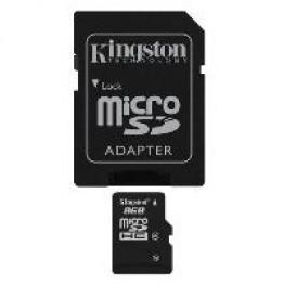 Card de memorie Kingston , Micro SDHC , 8 GB , Clasa 4 , Adaptor SD