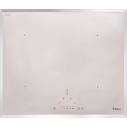 Plita incorporabila cu inductie Hansa BHIW68303, 4 zone de gatit, touch control, sticla alba