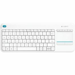 Tastatura Logitech K400 Plus Touch pad , Multimedia , Fara Fir , USB Logitech Unifying receiver , Alb